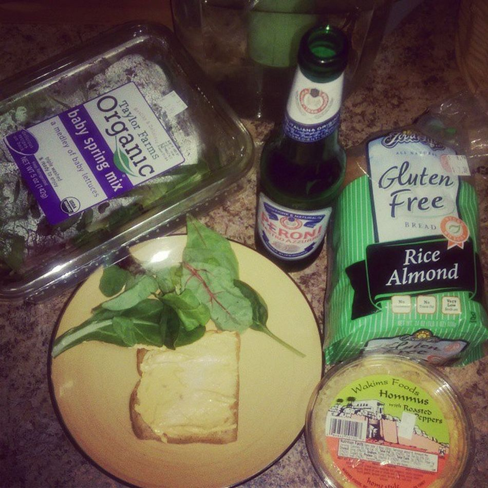 Dinner Taylorfarms Organic Babyspringmix wakimsfood hommus roastedredpeppers ricealmond glutenfree from @foodforlifebaking vegan whatveganseat peronibeer nastroazzuro