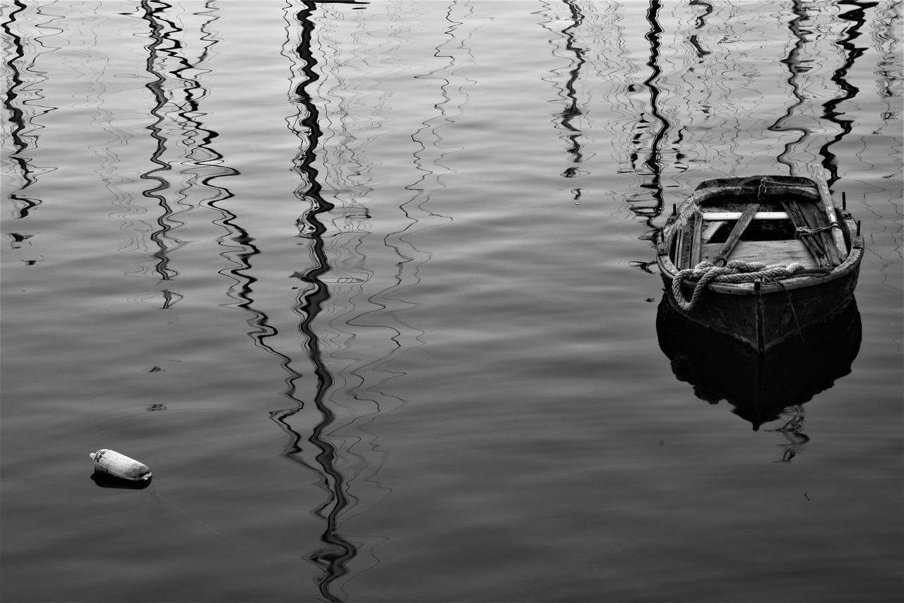 reflection, water, outdoors, day, no people, nautical vessel, mode of transport, waterfront, transportation, strength, moored, lake, nature, close-up