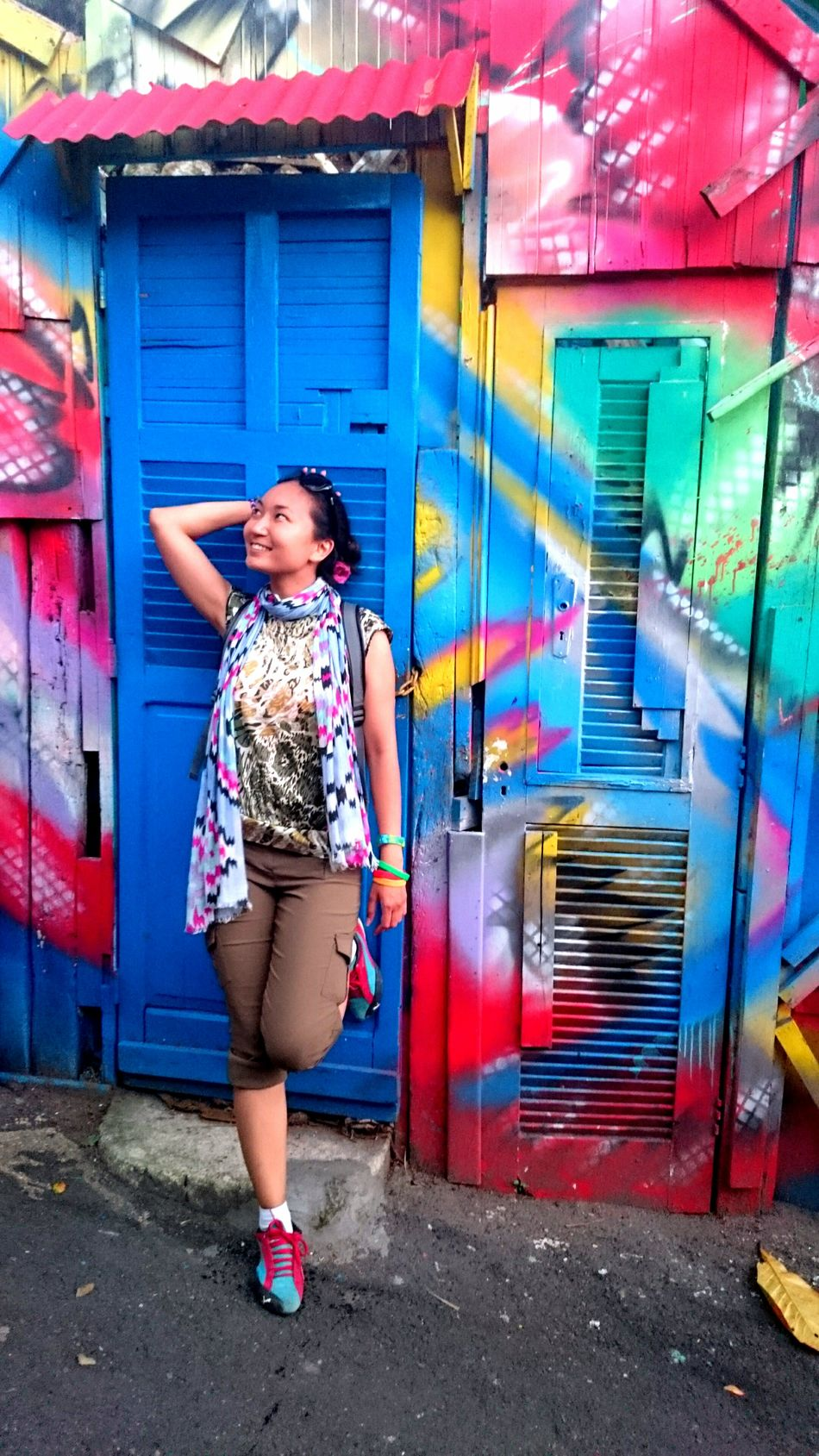 Adventure Buddies Bold Neons, Bright Pastels Brazilian Bright Carioca City Colorful Door Doors Favela Full Length Graffiti Happy Lifestyles Multi Colored Neon Colored Smiling Street Art Street Fashion Streetphotography Travel Traveller Vivid Women Young Adult
