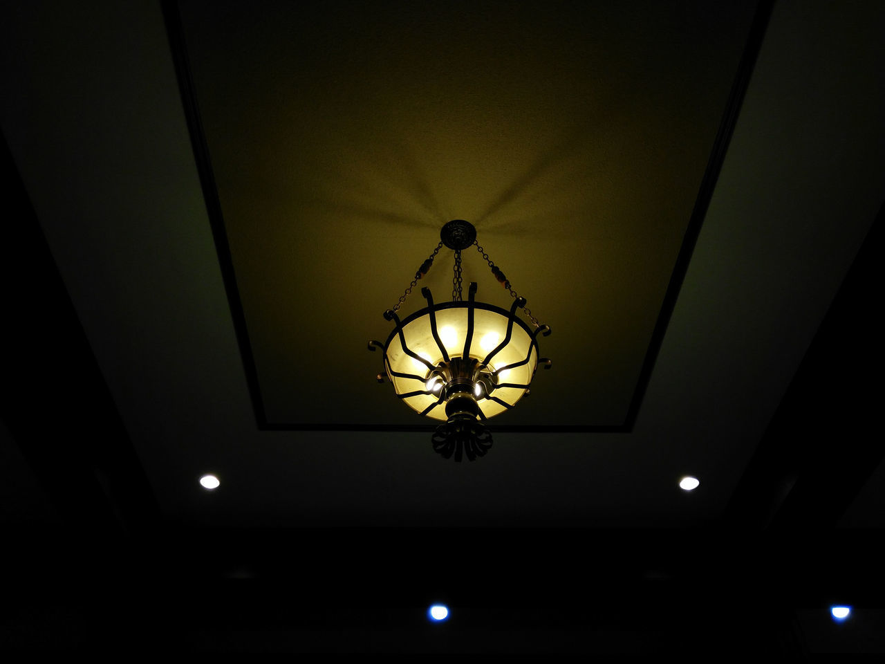 illuminated, lighting equipment, indoors, ceiling, low angle view, electricity, electric light, hanging, no people, night, technology, close-up