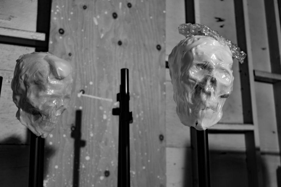 Skulls on poles. Funeralsettingz Thephotographer Photography Diadelosmuertos Tucson Az Arts And Crafts Funeral Chapel Blackandwhite Photography Skull Art Eyemphotography