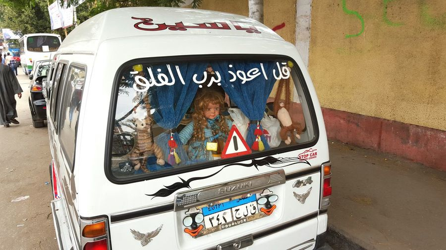Transportation Outdoors No People Crazy Car Display Microbus Micro Bus Cairo Egypt Scary Dolls Creative Displays Alternative Display First Eyeem Photo WTF