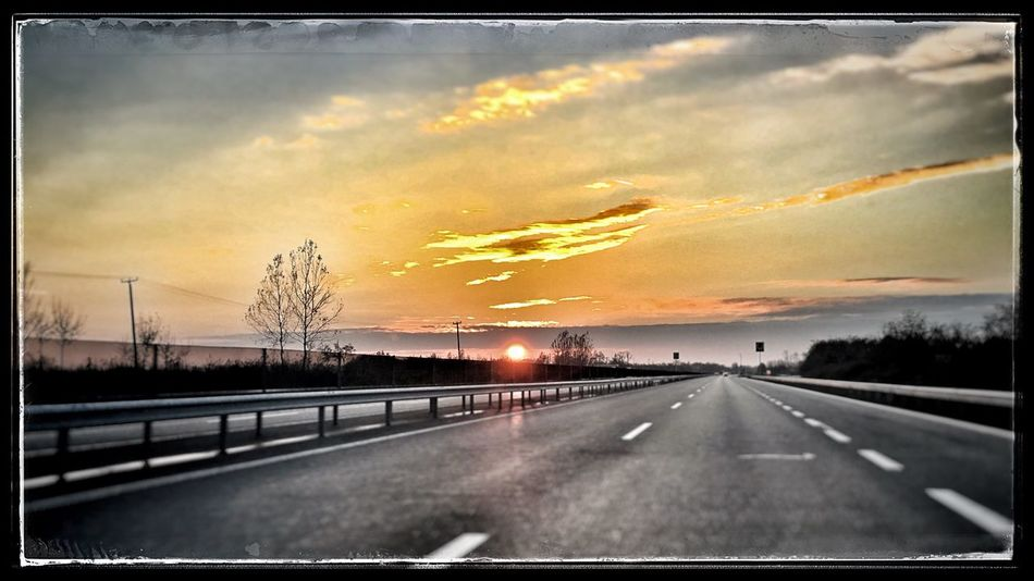 In the road in Hungary on the way to Budapest!! Sunset Sky The Way Forward Car Outdoors Beauty In Nature Nature Clouds Road Traveling Cloud - Sky Taking Photos Cloudscape Sunrise_sunsets_aroundworld Sunrise N Sunsets Worldwide  Sky And Clouds Sunset_collection Sunset Silhouettes Travel Travel Photography Roadtrip Roadscenes Road Trip! Roadlife Driving