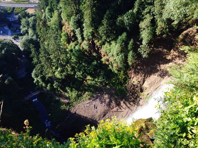 Aerial Shot Waterfall Columbia River Gorge don't look down