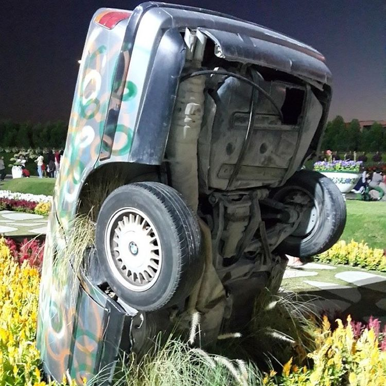 why did they bury the Bmw 😭? Cars Germany MiracleGarden Dubai UAE Flowers Garden