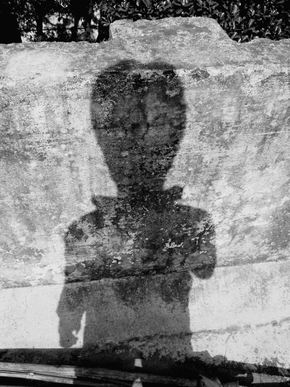 Shadow Of Man On Retaining Wall