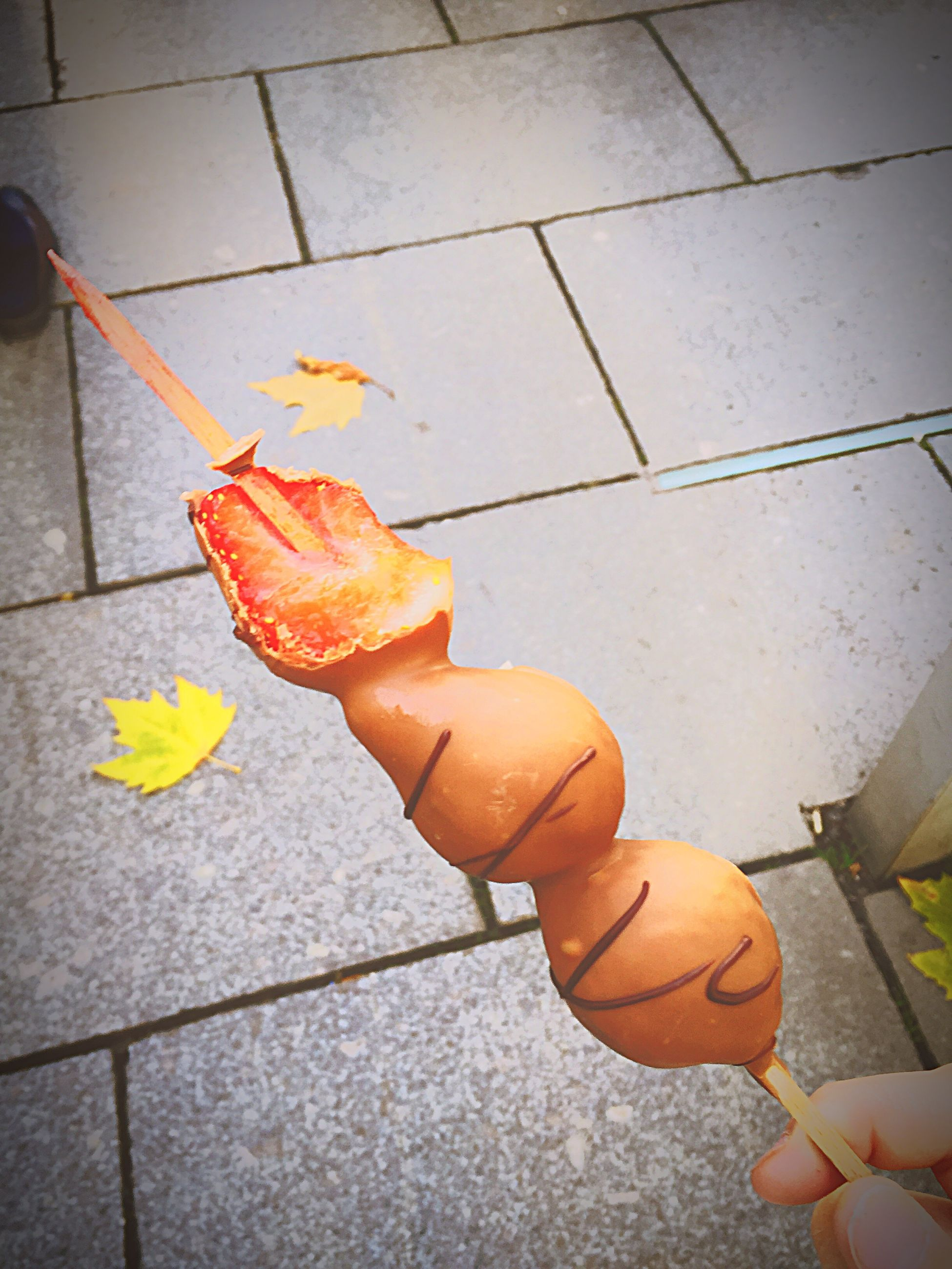 person, autumn, high angle view, food, food and drink, orange color, holding, leaf, freshness, yellow, part of, personal perspective, unrecognizable person, dry, change, low section, street