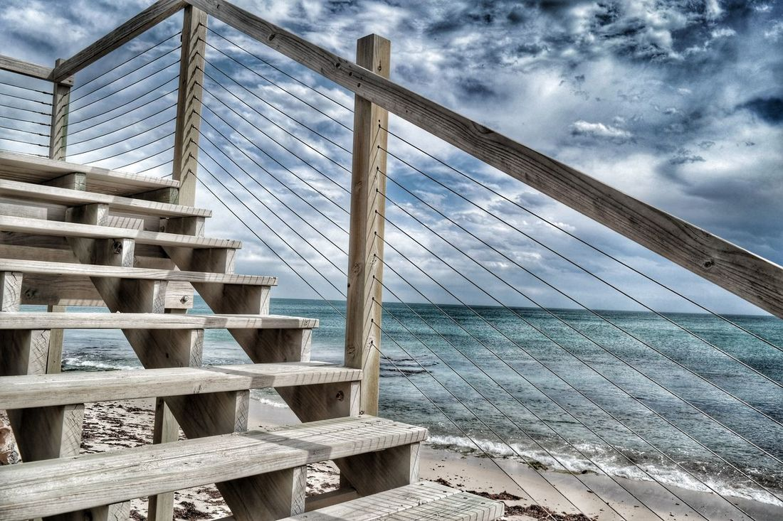 Stairway from bliss Outdoors Nature Landscape Seascape Photography Ocean Weather Sunlight And Shadow Water Stairway Cloud - Sky Beach Sea_collection Seaside Seagreen