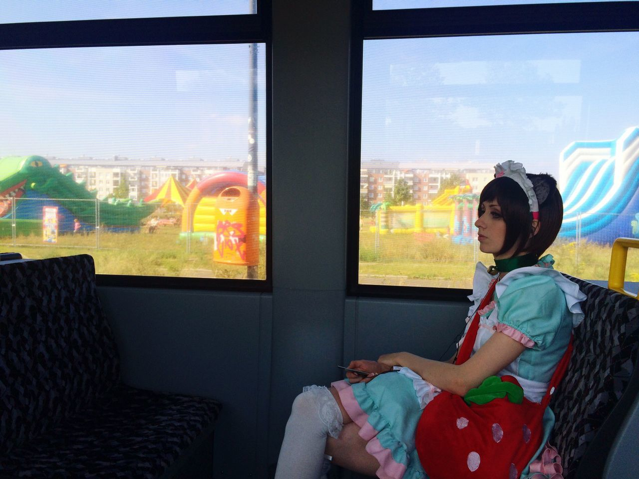 Window Indoors  Glass - Material Transparent Sitting Casual Clothing Home Interior Sky Journey Looking Curiosity Day Person Looking At Camera Manga Berlin Tram Marzahn