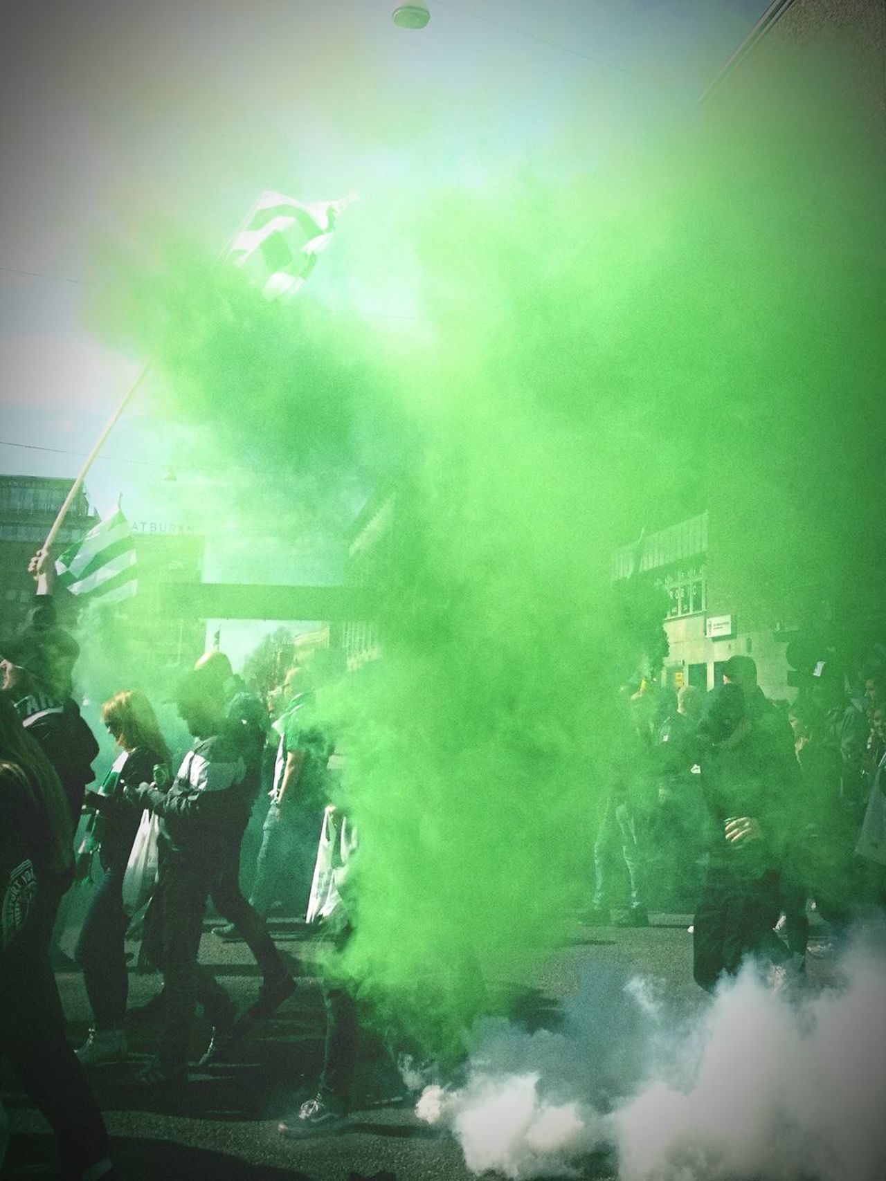 Bajentåget Green Color Hammarby Bajentåget Bajenland Bajen Football Succer Södermalm Södermalm Stockholm Parade Fans April Outdoors Nature People Togetherness Togetherforever