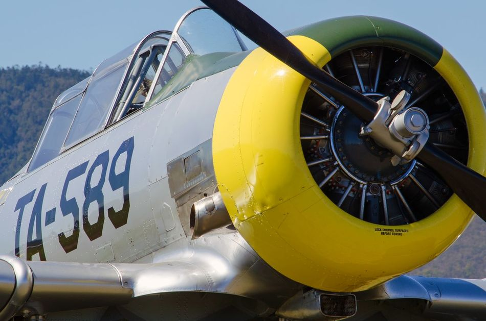 Texan  Warbird AT-6 Harvard Air Force Airplane Vintage Aircraft Warbirds Close-up Propeller Cockpit