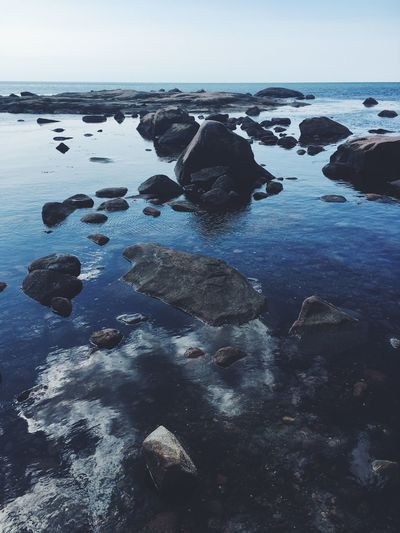 Sea Rock - Object Water Nature Beauty In Nature Tranquil Scene Tranquility No People Horizon Over Water Scenics Sky Day Outdoors Beach Pebble Beach
