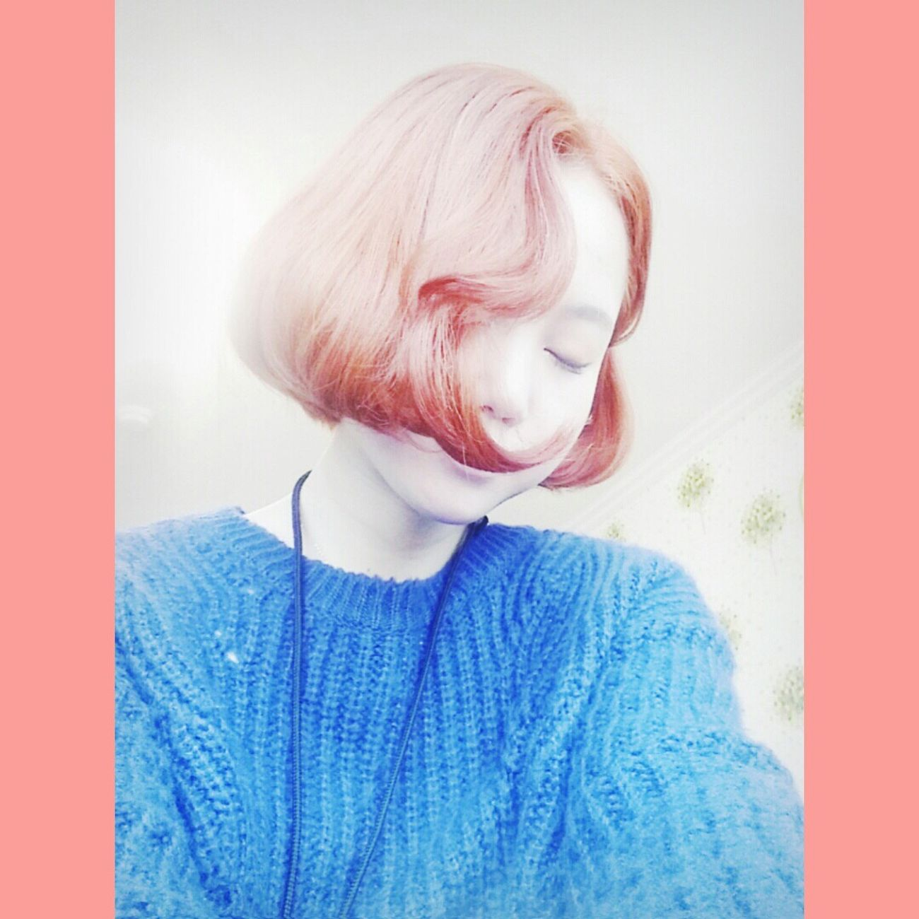 Hair Color Pinky Orange Selfie Personality  Korea Spring