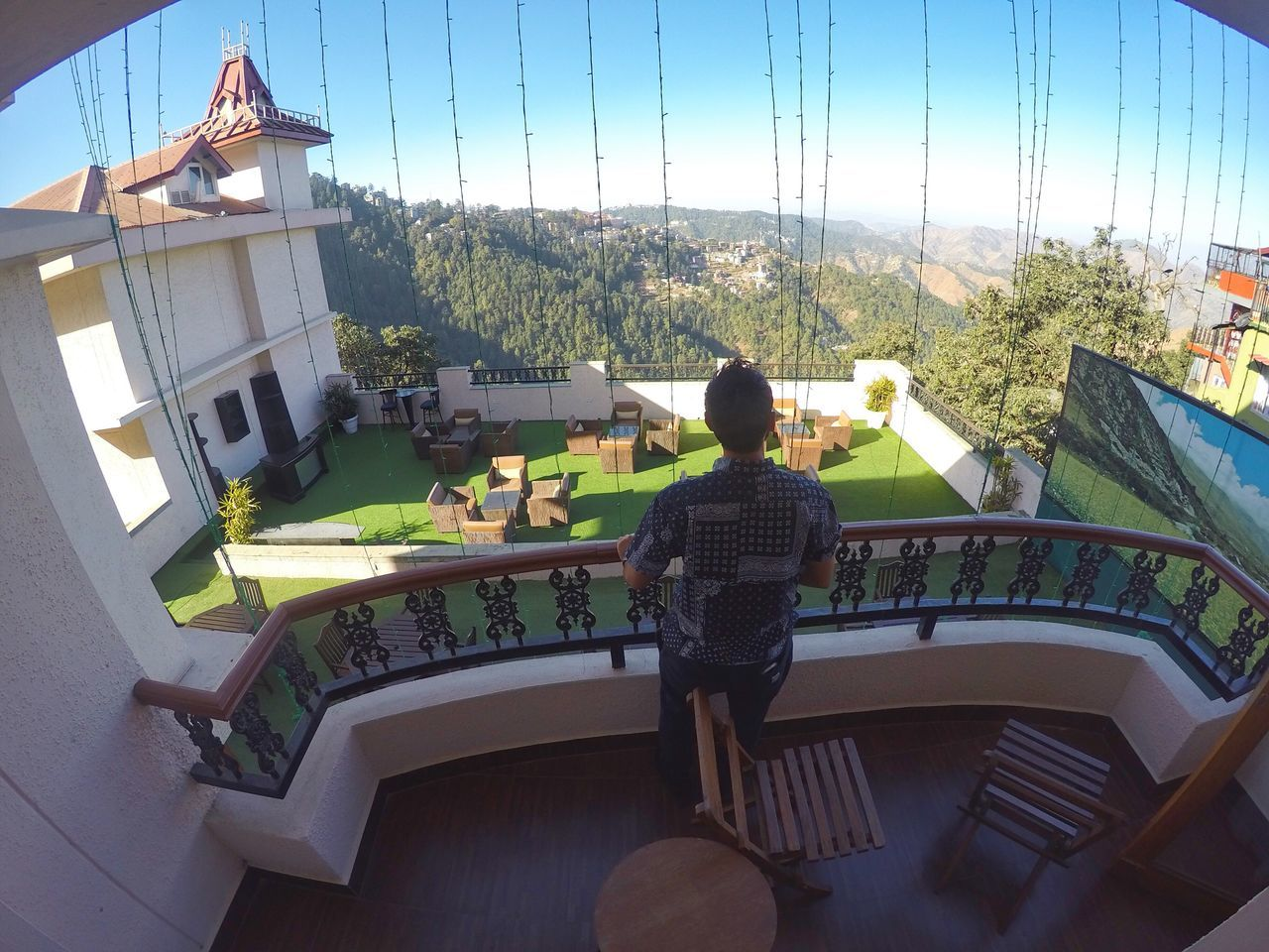 My view @radissonmanali Real People Leisure Activity Lifestyles Rear View Full Length Balcony Architecture Women Tree Day Outdoors Sky One Person Adult People Gopro Goprooftheday GoPrography Manali India Indiapictures