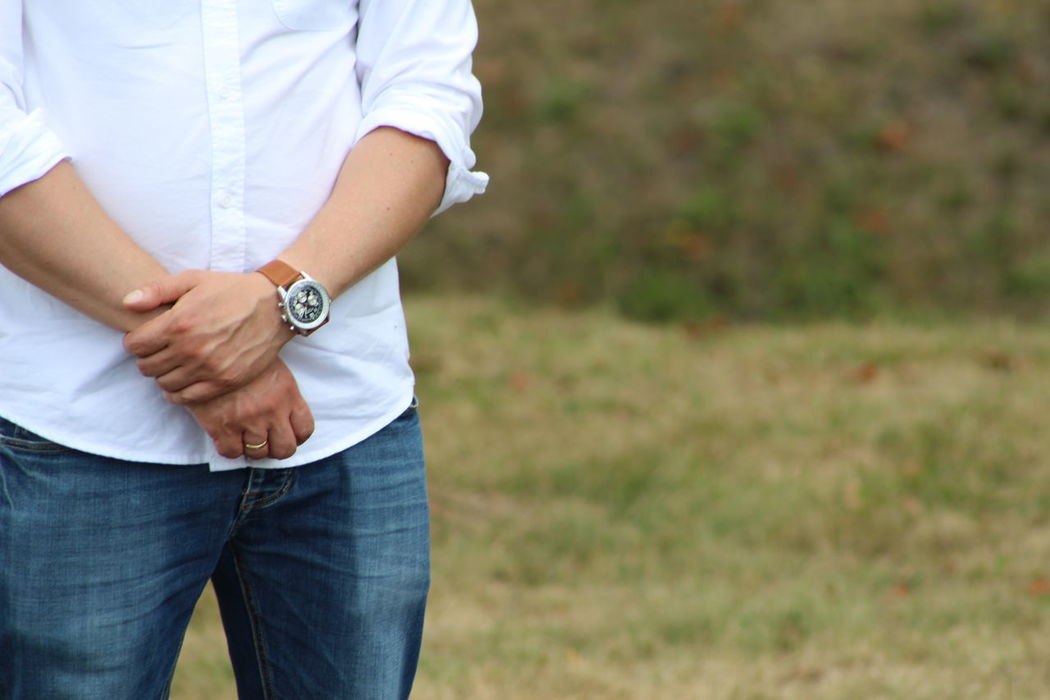 Belly Casual Clothing Close-up Day Focus On Foreground Human Hand Low Section Men Midsection One Person Outdoors People Real People Ring Standing Watch Watches Wristwatch