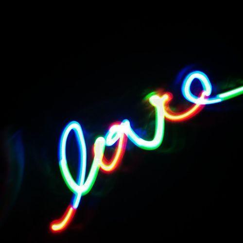 Illuminated Multi Colored Neon Lighting Equipment Night No People Black Background Close-up Kirakira Handspinner LED Love Night Lights Night HuaweiP9