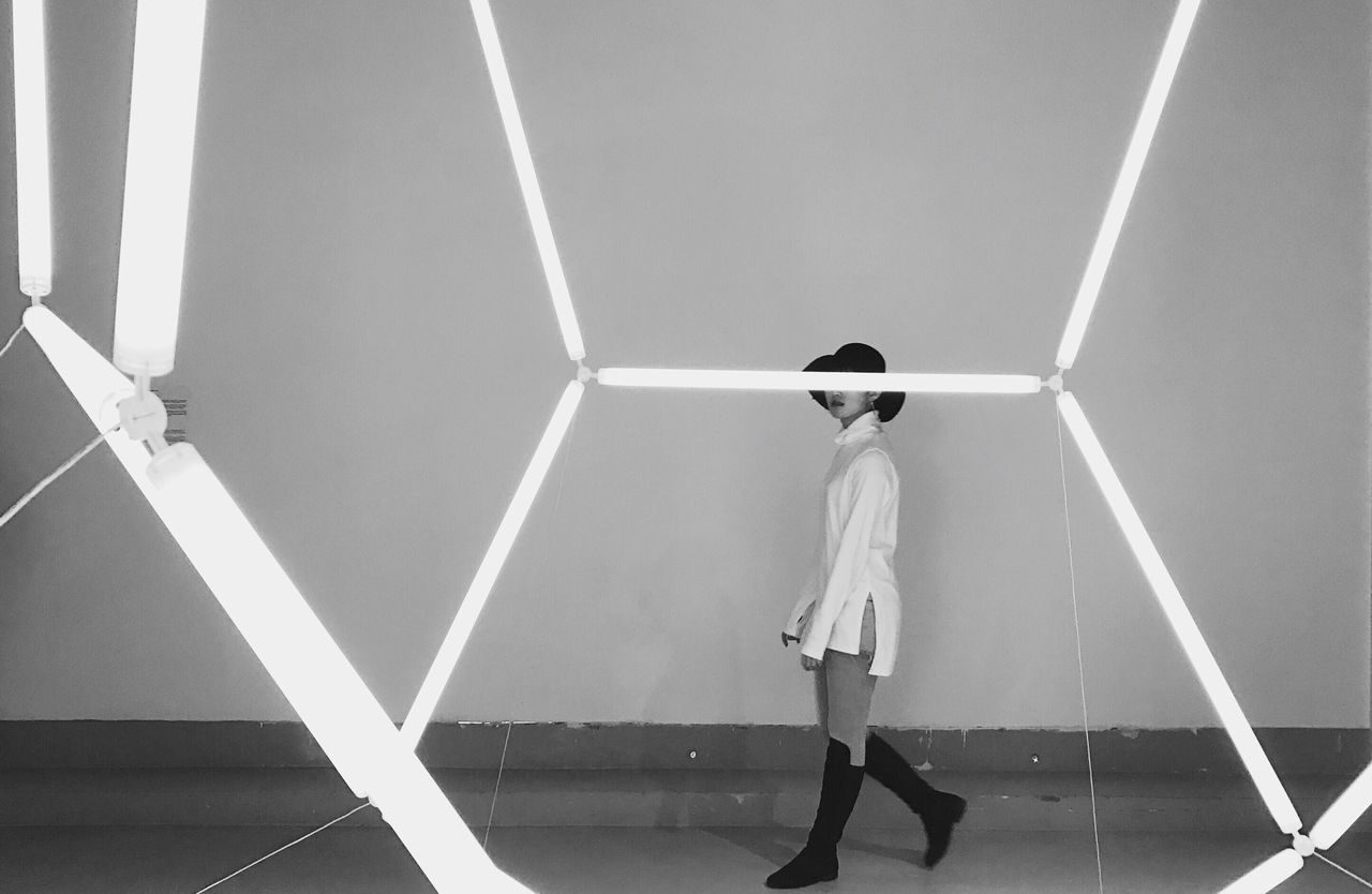 Girl in white Blackandwhite Exhibition Neon Monochrome PhonePhotography Snap