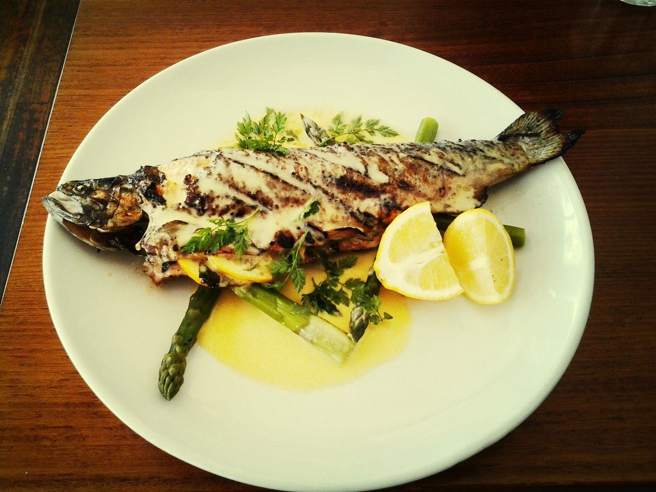 whole char grilled rainbow trout with chervil beurre blanc Wholetrout
