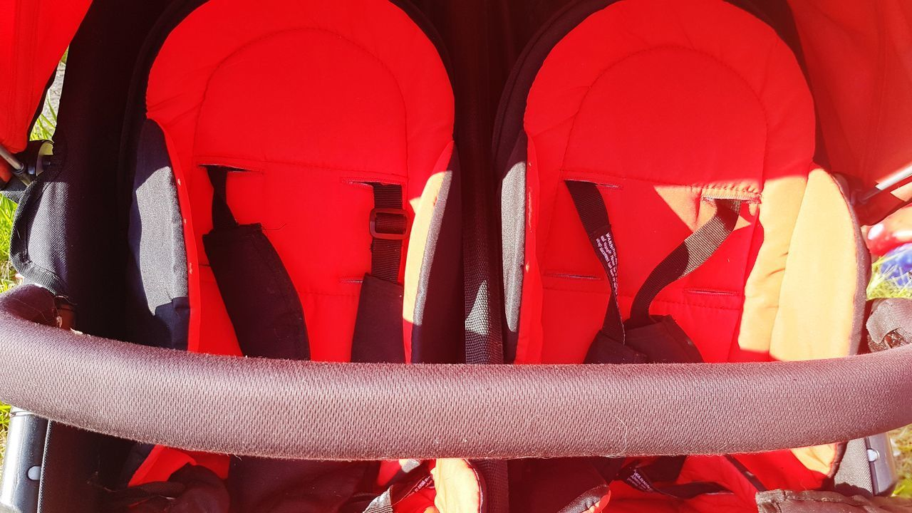 Red Day Close-up Double Pushchair Buggy Pushchair Outdoors Grass Summer Red