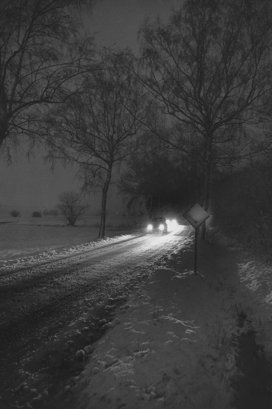 Winter Road Cold Lights Cars Night Lights Blackandwhite Black & White Deepfreeze It's Cold Outside