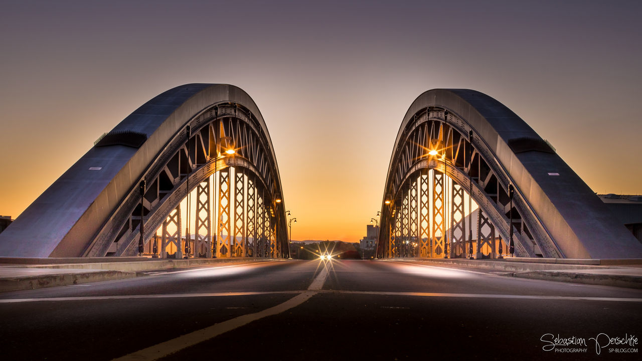 The Bridge | #SPBLOG Architecture Bridge Bridge - Man Made Structure Built Structure Frankfurt Am Main Honsellbrücke Frankfurt Illuminated Light Trail Long Exposure Low Angle View Night Osthafenbrücke Outdoors Road Sky Sunset The Way Forward Transportation Travel Destinations The Architect - 2017 EyeEm Awards