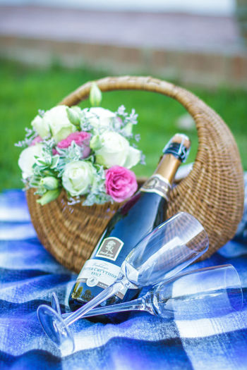 Canon 7D, 50mm lense Celebration Champagne Picnic Romantic Anniversary Basket Basket Of Flowers 🌷 Blue Bouquet Bouquet Of Flowers Champagne Flute Close-up Day Flower Flowers Fragility Freshness Marriage  No People Outdoors Picnic Picnic Basket Roses