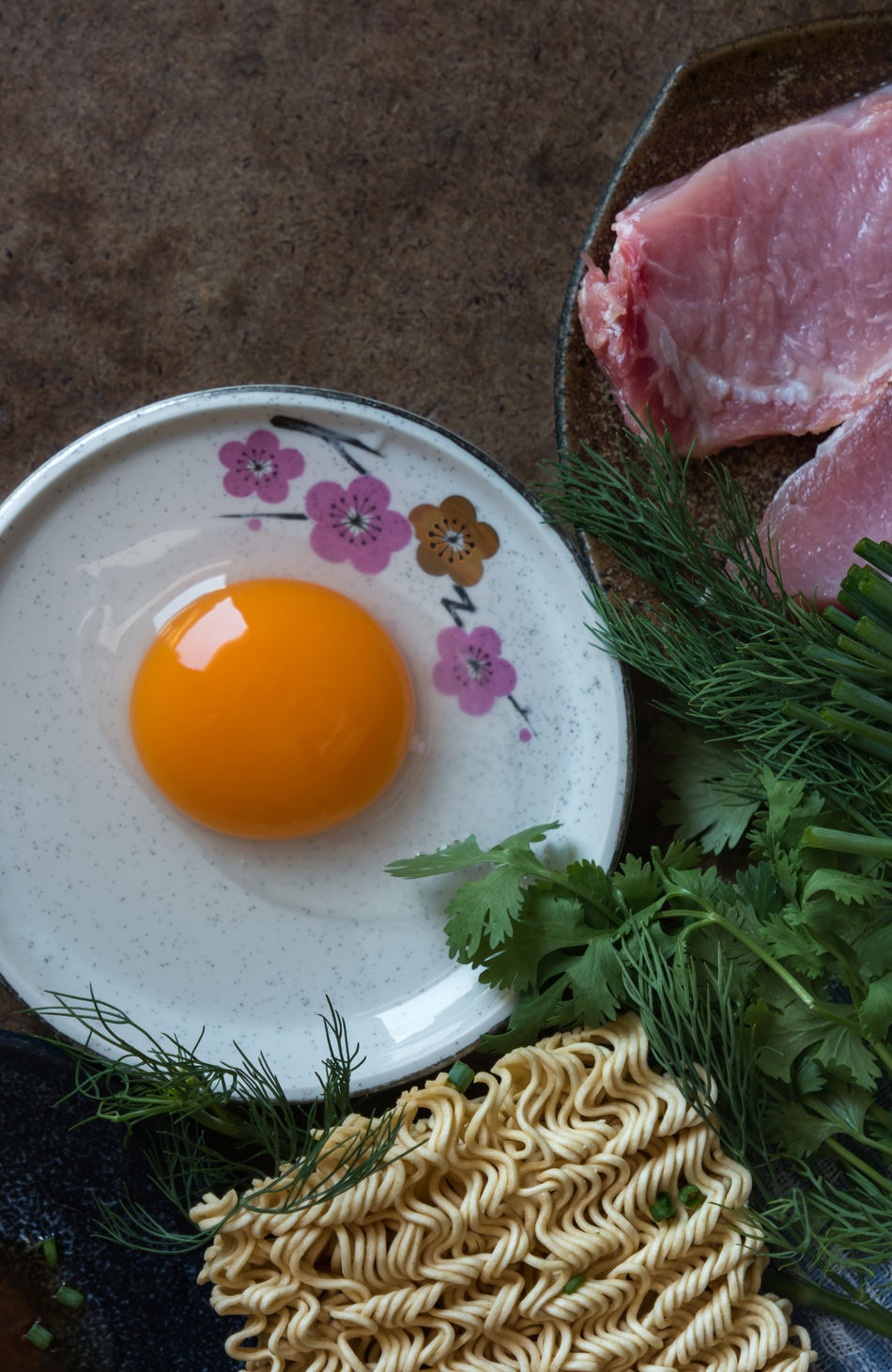 Close-up Cooking Coriander Day Dill Egg Egg Yolk Egg Yolk Food Food And Drink Food Preparation Freshness Healthy Eating High Angle View Indoors  Instant Noodle No People Plate Pork Raw Food Raw Meat   Spring Onion