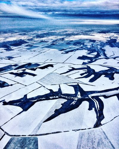 Birds view Flying Winter Landscape Nature Cold Temperature Beauty In Nature Backgrounds Landscape No People Shades Of Winter Scenics Pattern Winter Frozen Blue Sky