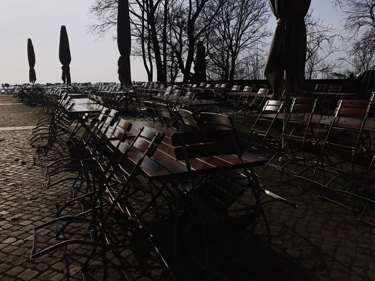 Biergarten Chair Tree Table Empty No People Outdoors Clear Sky Nature Sky Branch Day Closed Winter The City Light