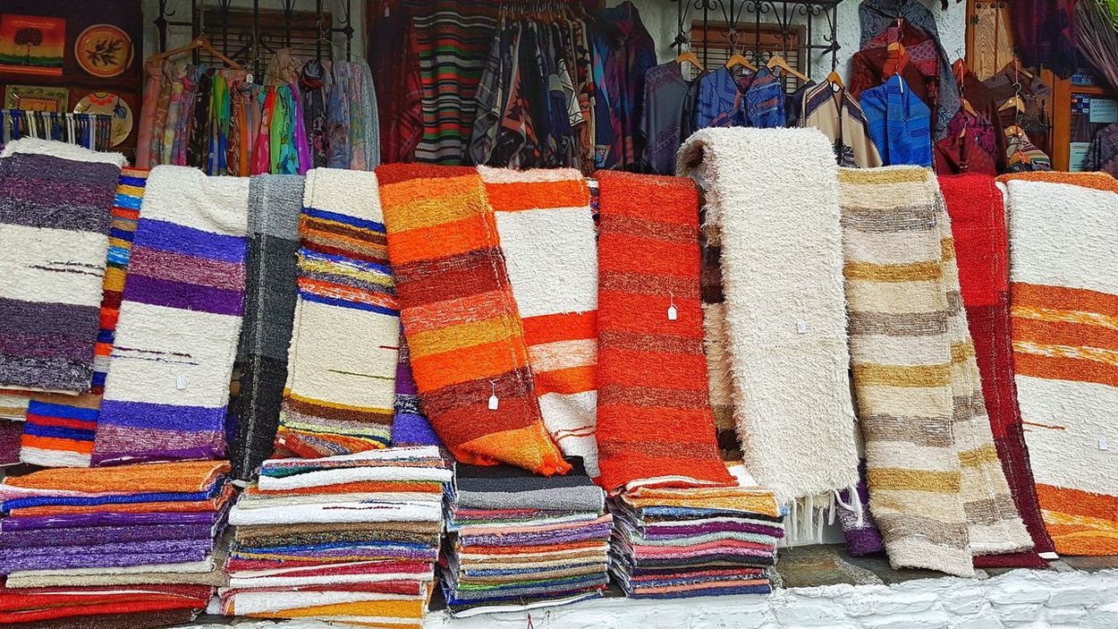 Multi Colored Colorful Carpets Typical Product Region Spain🇪🇸 Andalusia Alpujarra Alpujarras Pampaneira Sierra Nevada Travel Photography Mountains Store