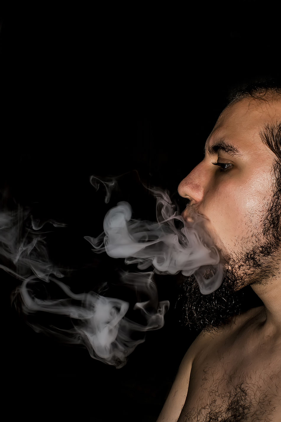 Smoke Black Background Lifestyles One Person Portrait Smoke Spontenous Studio Shot Young Adult