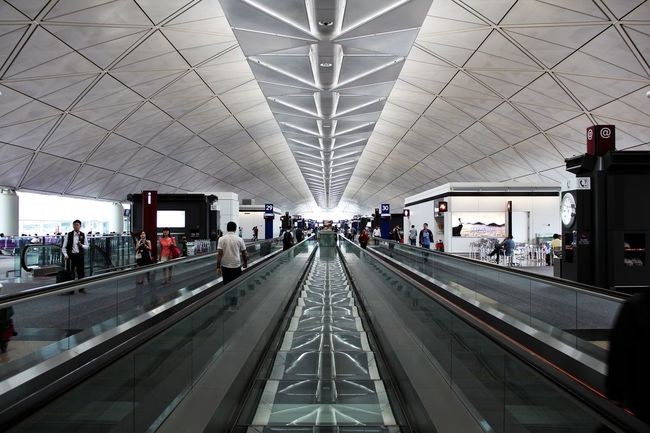 @Airport @hongkong Ceiling City Life Connection Diminishing Perspective Indoors  Journey Modern Public Transportation The Way Forward Transportation Travel