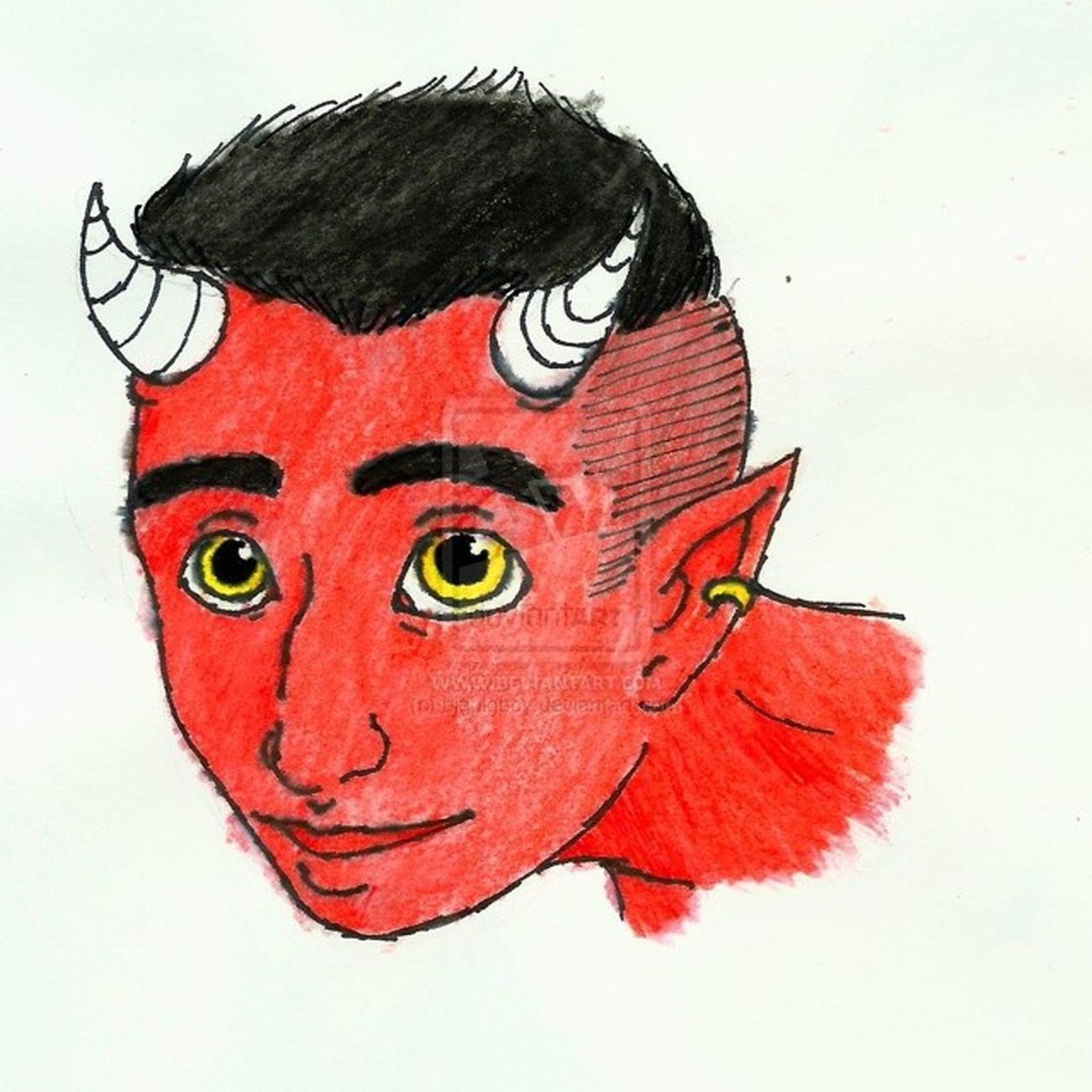 Draw Waterpencil Devil Demon Satan 666 Red Redskin Cartoon Horn Hornman Yelloweyes Divunser Djivúnçer