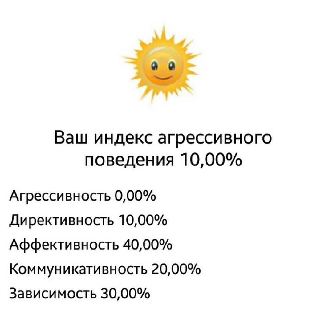 Да я весь пушистый оказывается ?)))) хотя состояние аффекта выше других Тест Псих психика щхьэ кумц1 мозг поведение
