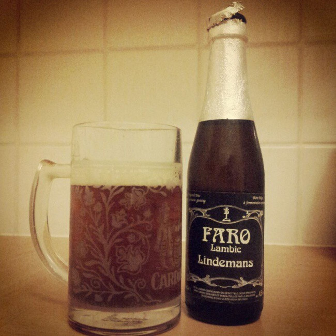 November photo-a-day challenge. Day 19. Something awesome. My favourite Belgian beer after a rubbish day at work. Fmsphotoaday Lindamans Faro Beer