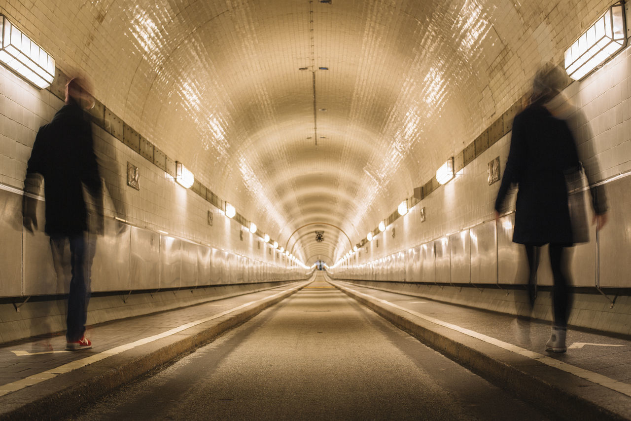 Blurred Motion Elbtunnel Hamburg Illuminated Indoors  Motion Motion Blur Motion Capture Motion Photography Real People Rear View The Way Forward Tunnel Tunnel View Tunnel Vision Tunnels Walking