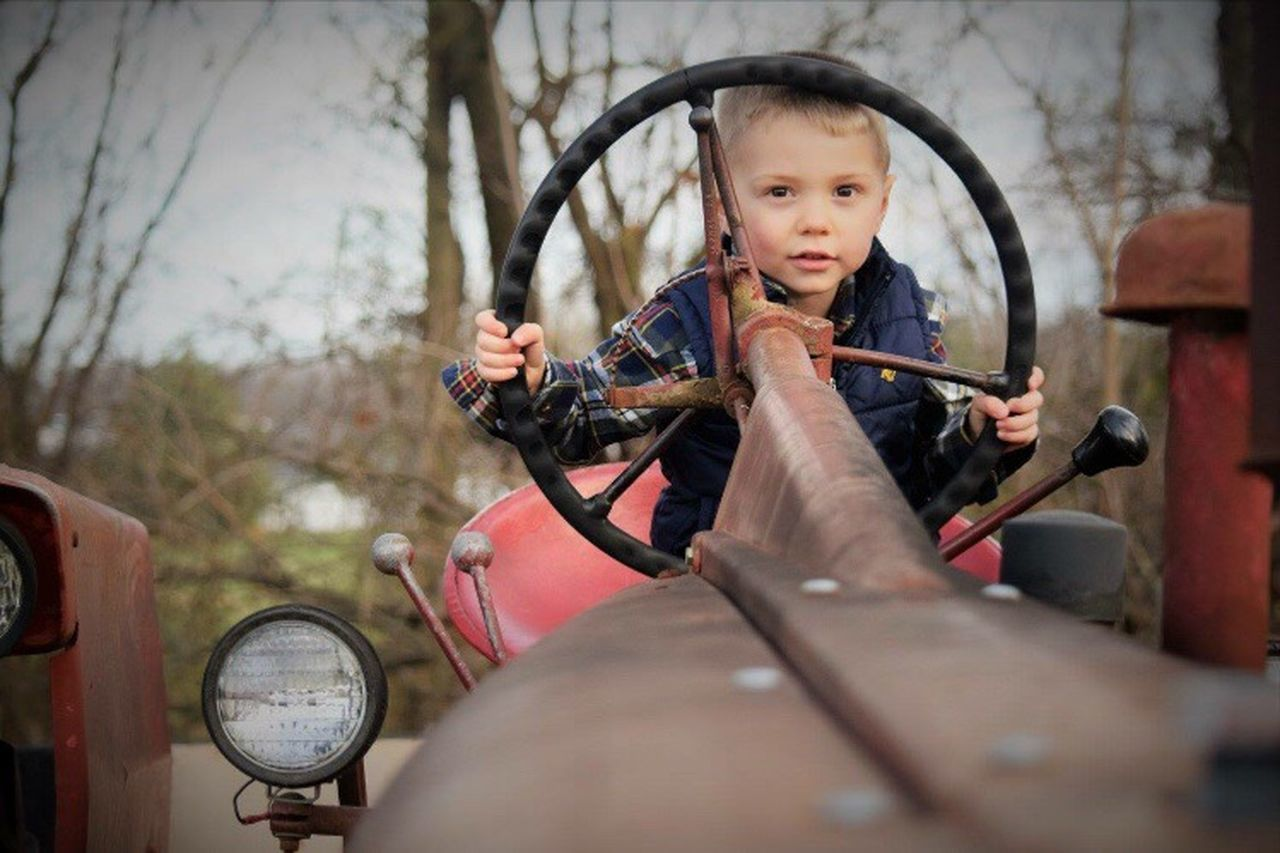 Child Outdoors Tractors Farm Fall Handsome
