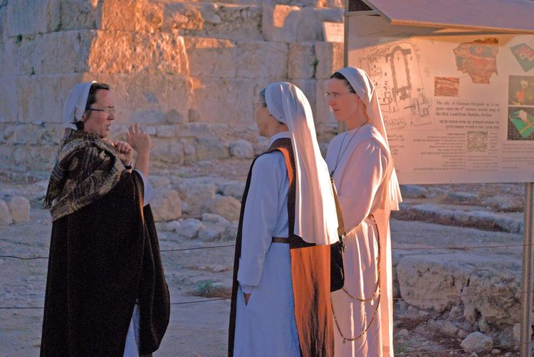 Candid Portraits Church People Watching Women Nuns Israel Middle East Religious  Religion Holy Women Talk