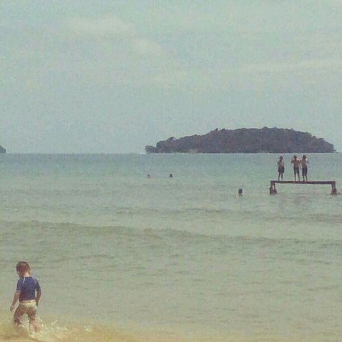 Kids having fun at Otress beach. Sihanoukville Cambodia Tandemsea