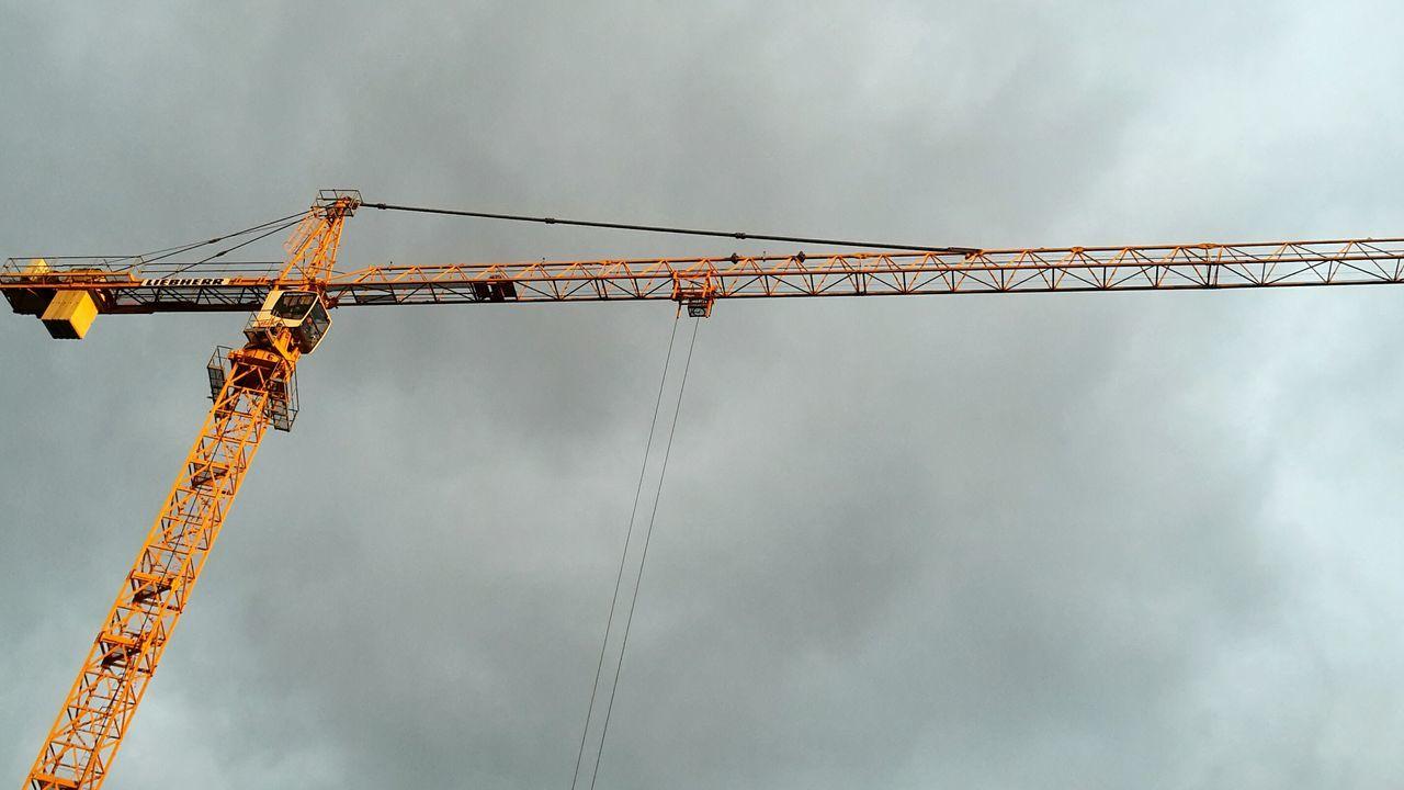 Sky Baukran Perspective Höhe Himmel Arbeitswelt Aussichten Kran Crane Construcción Construction Crane View From Bellow Morning Light Construction