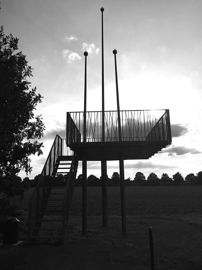 Built Structure Sky Low Angle View Architecture Tree Steps Silhouette Cloud Pole Staircase Outdoors Cloud - Sky Day Nature No People Tranquility Scenics Remote Tranquil Scene Observation Point Blackandwhite Black And White