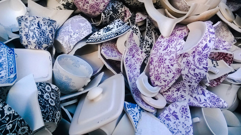 Broken Broken China China Chinaware Day EVERYTHING THAT HAS A BEGINNING HAS AN END Imperfect  Imperfection Indoors  Large Group Of Objects Middleport Pottery No People Pottery Rejected Seconds Shards Shards Of China Smashed Something Beautiful Remains Stoke-on-Trent Staffordshire