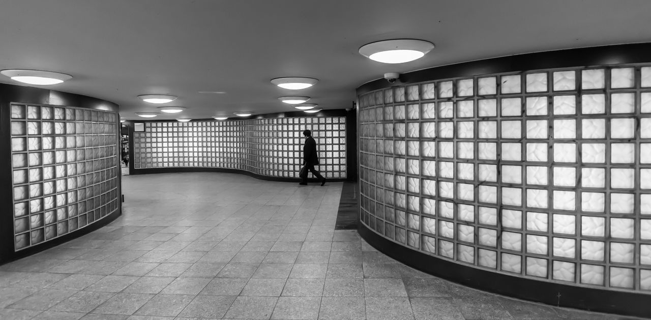 Architecture Berlin Photography Berliner Ansichten Black & White Black And White Day Electric Light Fußgängertunnel Glass - Material Illuminated Indoors  Modern One Person Pedestrian Tunnel Tunnel Urban Exploration