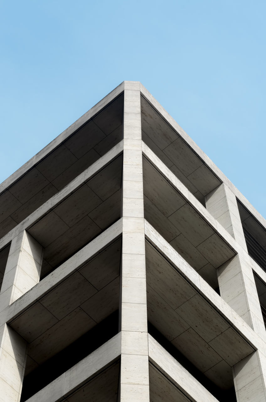 low angle view, built structure, architecture, clear sky, building exterior, day, outdoors, no people, blue, modern, sky