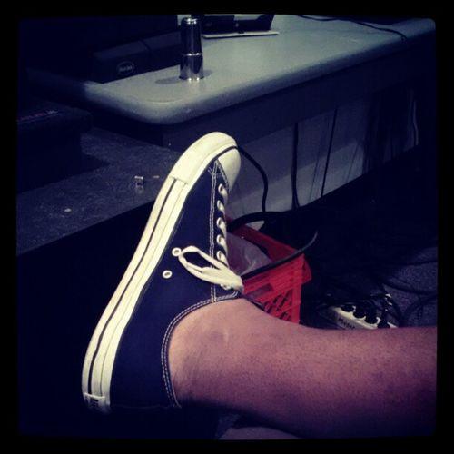 Low-cut Chucks in the studio. Studioswag