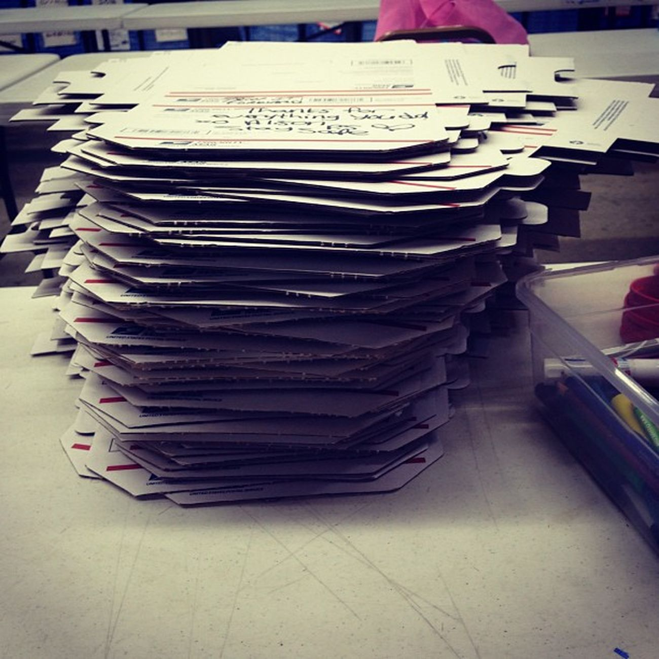 I'd say over 500 boxes made today from 10-1(: Nottoobad Volunteering Forgottensoldiers