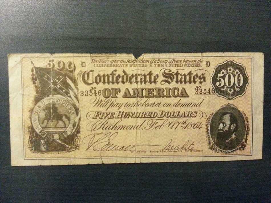 Money Old Bank Notes 500 Dollar 1864 United States Confederate Bill $