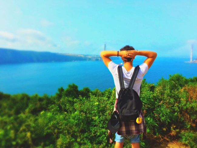 Water Standing Rear View Leisure Activity Lifestyles Casual Clothing Sea Blue Scenics Nature In Front Of Mountain Tranquility Mountain Range Remote Beykoz Yoros Kalesi Vacations Carefree Beauty In Nature 2016 EyeEm Awards