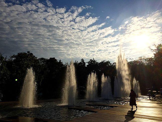 EyeEm Best Shots Eye4photography  Eyemphotography Shadows Fountain Water Taking Photos Sky Sky And Clouds Clouds Clouds And Sky Blue Blue Sky Silouette