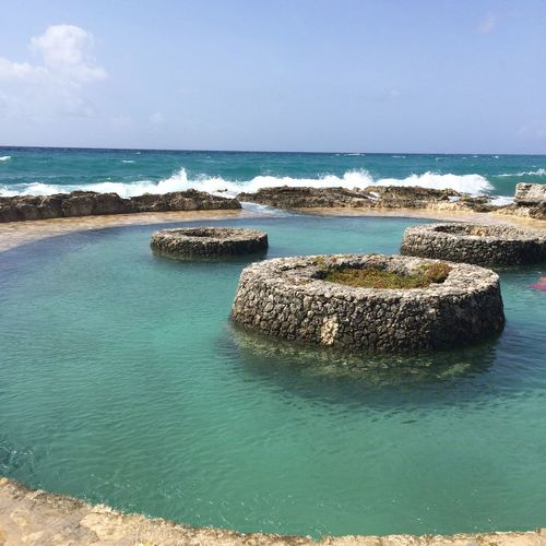Beauty In Nature Blue Calm Check This Out Coastline Day Holiday Horizon Over Water Idyllic Me Nature No People Ocean Pool, Outdoors Rock - Object Rock Formation Scenics Sea Seascape Sky Tranquil Scene Tranquility Water Xcaret Xcaretmexicospectacular